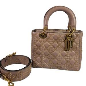 Lady Dior Supple Studded medium bag in Old Rose